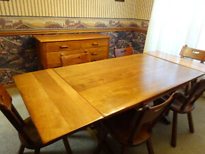 Vintage Cushman Colonial Creation Trestle Table Sideboard Buffet 6 Chairs