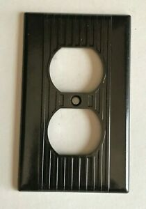 Vintage Brown Duplex Outlet Receptacle Wall Plate Cover Ribbed Bakelite