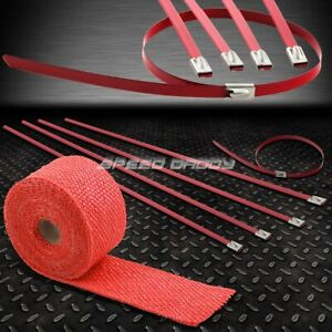 15ft 180 l 2 w Car bike Exhaust Pipe Red Heat Wrap stainless Zip Tie Cable
