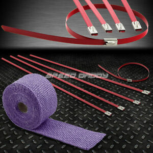 15ft 180 l 2 w Exhaust Intake Header Purple Heat Wrap stainless Red Zip Tie