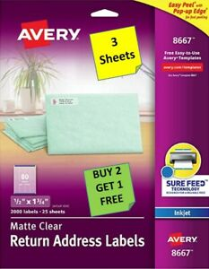 3 Sheets Avery 8667 Matte Clear Return Address Labels 1 2 X 1 3 4 Inkjet B2g1