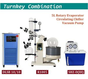 5l Rotary Evaporator With Chiller And Vacuum Pump 110v Lab Rotavap Complete Set