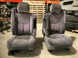 03 Gmc Sierra Used Left Power Right Manual Cloth Bucket Seats Pair Set