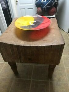 Vintage Butcher Block Table High Near Chgo Pick Up Only Bargain Hurry Reduced