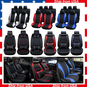Universal Pu Leather Auto Car Seat Cover 5 Seats Full Wraped Cushion W n Pillows
