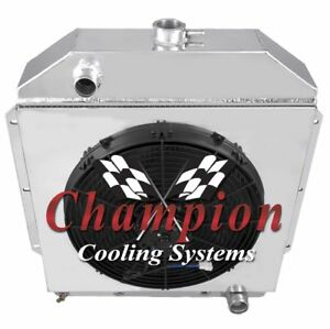 3 Row Sz Champion Radiator 16 Fan Shroud For 1949 1953 Ford Cars Chevy Eng