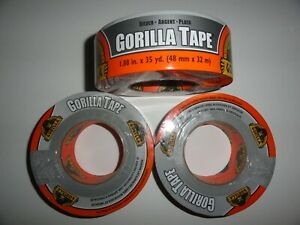 3 Rolls Silver Gorilla Duct Tape 1 88 X 35 Yd Tough Thick weather resistant