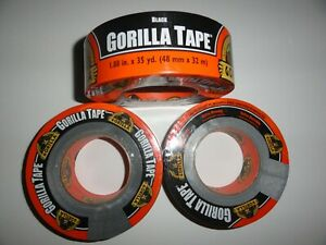 3 Rolls Black Gorilla Duct Tape 1 88 X 35 Yd Tough Thick Weather resistant