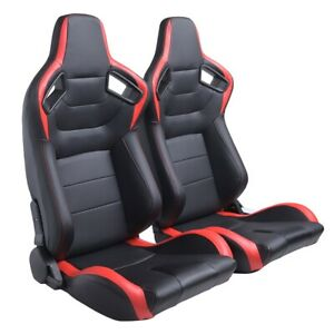 Universal 2pcs Car Racing Seats Pu Leather Recline Sport Racing Seat Red
