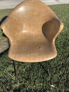 Eames Herman Miller Mid Century Chair Shell W H Style Base Butterscotch Tan