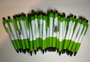 30 Piece Lot Misprint Green white silver Retractable Click Pens W grip Free Ship