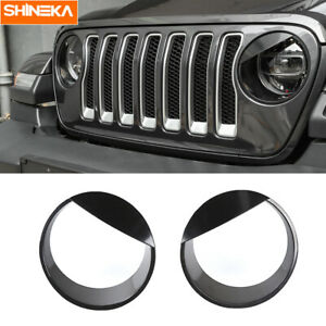 2x Front Headlight Lamp Bezels Trim Cover For Jeep Wrangler Jl Rubicon Sahara