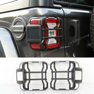 2pc Black Abs Rear Tail Light Lamp Guard Cover Trim For Jeep Wrangler Jl 2018 20