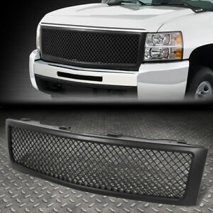 For 07 13 Chevy Silverado 1500 Matte Front Upper Bumper Mesh Grille Grill Frame