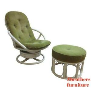 Vintage Mid Century Rattan Bamboo Clarke Casual Lounge Chair And Ottoman
