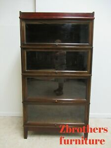4 Stack Antique Hale Walnut Barrister Bookcases Book Shelf Library Shelves B