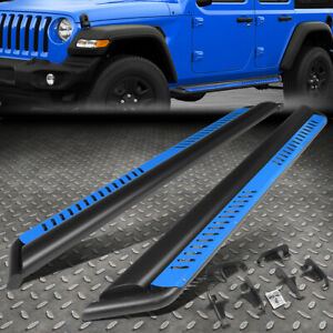 For 18 20 Jeep Wrangler Jl Side Nerf Bar Running Board W blue Dropped Step Plate