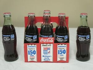 COCA COLA 6 PACK FULL BOTTLES MICHIGAN FRANKENMUTH 150 YEARS