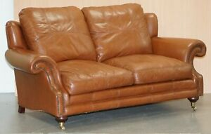 Rrp 3299 Medallion Upholstery Brown Leather Two Seat Sofa Part Of Large Suite