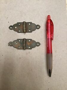 2 Vintage 3 Brass Gothic Strap Hinges Great Design Good Patina Free Shipping C2