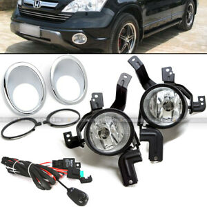 For 07 09 Honda Cr V Crv Clear Fog Lights Front Bumper Lamps W Wiring Switch