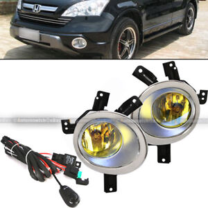 For 07 09 Honda Cr v Crv Yellow Fog Lights Front Bumper Lamps W wiring switch