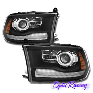 anti fog 2009 2018 Dodge Ram 1500 2500 3500 Led Drl Projector Black Headlights