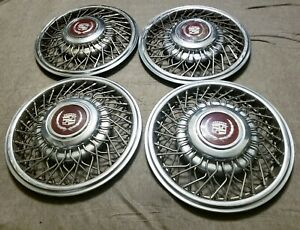 Set Of 4 Oem 1985 88 Cadillac Deville Seville 14 Wire Spoke Hubcap Wheel Covers