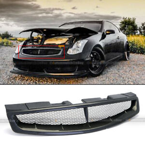 For 03 07 G35 2dr Coupe Badgeless Jdm Carbon Painted Bumper Hood Mesh Grille