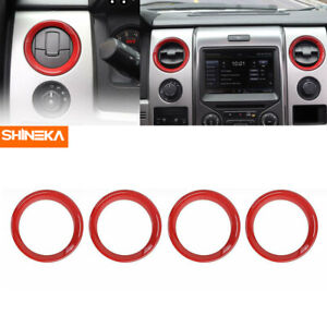 4x Air Conditioner Vent Outlet Cover Bezel Trim Ring For Ford F150 2009 2014 Red