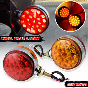 Side Marker Turn Signal Semi Truck Fender Stud Lights Round 42 Led Red amber 2x