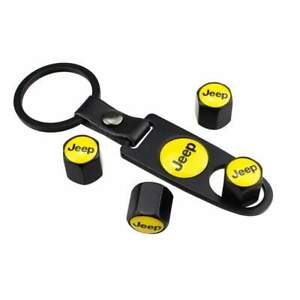 For Jeep Tire Valve Dust Air Cap Cover Emblem Keychain Yellow Wrangler Gladiator