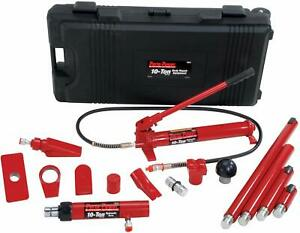 Porto power B65115 Black red Hydraulic Body Repair 19 Piece Kit 10 Ton Capacit