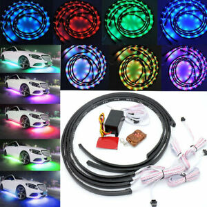 4pcs 7 Colors Led Strip Underglow Underbody Under Car Tube System Neon Light Kit