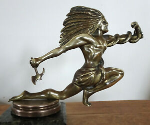 Hood Ornament Mascot Stunning Indian And Snake With Hatchet Lagonda Packard