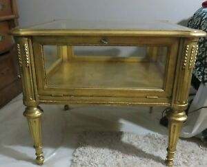 Weiman Square End Side Tables Gold Wood Glass Display Case