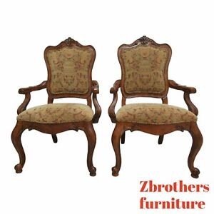 Pair Ethan Allen Tuscany Pretzel Back Dining Room Arm Chairs French Carved