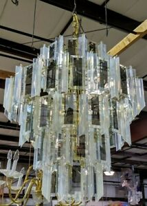 Venini 5 Tier Mirrored Smoked Glass Lucite Chandelier Sale Priced 58 Ship