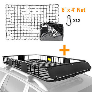 64 Universal Roof Rack Cargo Carrier Luggage Basket 4 X 6 Bungee Cargo Net