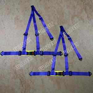 Pair Of Blue 3 Point Racing Seat Belt Harnesses For Car Off Road 4x4 Harness