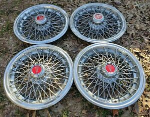 Set Of 4 Oem 1983 84 Pontiac Parisienne Chevy 15 Wire Spoke Hubcap Wheel Covers
