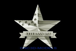 3d Model Stl For Cnc Router Artcam Aspire Usa Flag Veterans Day Pano Star D313