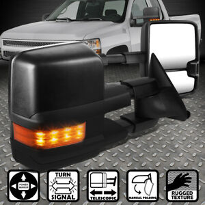 For 88 02 Chevy gmc C k Pair Powered amber Led Turn Signal Side Towing Mirror