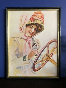 Antique Coca Cola Woman Driving Car  Holding Botte  Advertising Wood Frame Glass