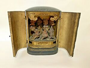 Antique Carved Japanese 7 Immortals Gods Wooden Asian Travelling Shrine Statue