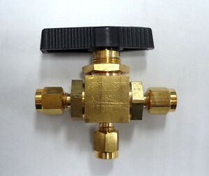 Mini Brass Ball Valve 3 way 1 8 Compression Connections 1500 Psi 1wmw4