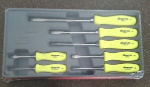 New Snap On Tools 7 Pc Hi Viz Yellow Hard Handle Screwdriver Set Sddx70ahv