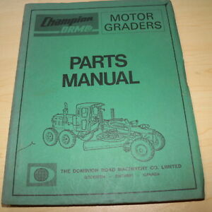 Champion Drm Co Motor Grader Parts Catalog Manual Book Spare List Index Road