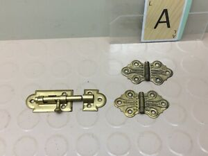 2 Vintage Cabinet Door Hinges Butterfly Slide Barrel Lock Brass Color
