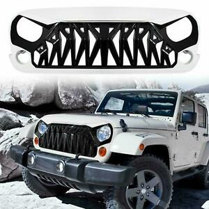 Abs Front Grille Grill Cover For Jeep Wrangler Jk 2007 2018 Matte Black White